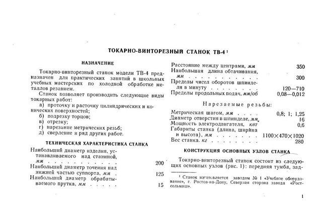 Токарно-винторезный станок ТВ-4: характеристики, паспорт, видео, фото
