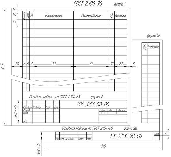 Спецификация сборочного чертежа: скачать, оформление, заполнение