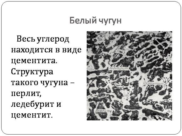 Белый чугун: структура, состав, свойства, маркировка